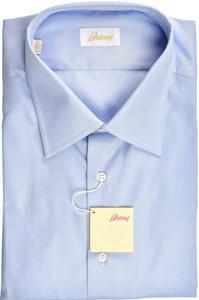 Brioni Dress Shirt Short Sleeve Superfine Cotton 18 1/2 47 Blue