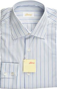Brioni Dress Shirt Superfine Cotton 15 38 Blue White
