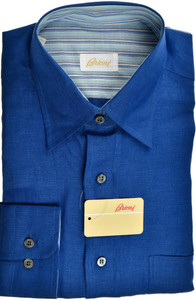Brioni Dress Shirt Fine Linen Medium III Blue