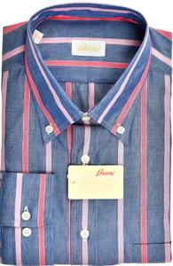 Brioni Dress Shirt Linen Cotton XLarge V Blue Pink