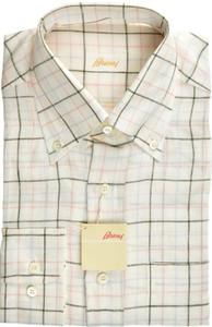 Brioni Dress Shirt Linen Small II White Pink