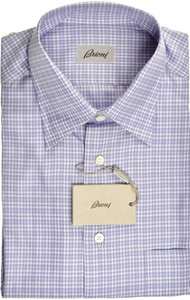 Brioni Dress Shirt Short Sleeve Cotton Medium III Purple White