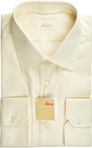 Brioni Dress Shirt Superfine Cotton 17 3/4 45 Yellow