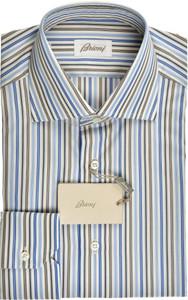 Brioni Dress Shirt Superfine Cotton 15 38 Blue Brown