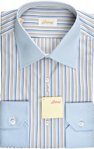 Brioni Dress Shirt Fine Cotton 15 3/4 40 Blue White