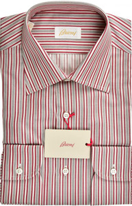 Brioni Dress Shirt Superfine Cotton 15 1/2 39 Burgundy Gray