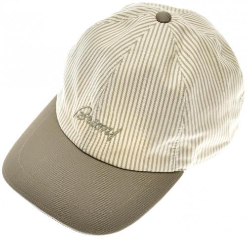 0af3b3e54618f Brioni Baseball Cap Hat Cotton Linen W  Logo Green Stripe