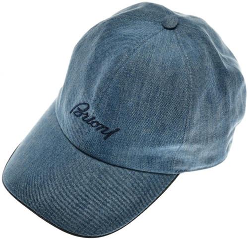 ac579c83d9f Brioni Baseball Cap Hat Cotton Denim W  Logo Blue