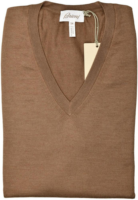 Brioni Sweater V-Neck Vest Cashmere Silk Size XLarge Brown