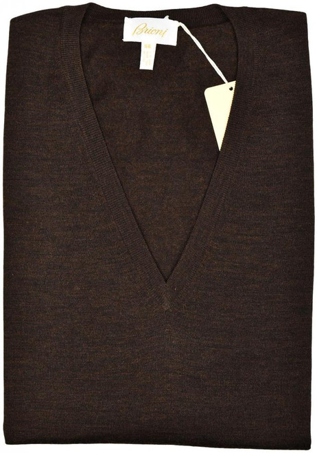 Brioni Sweater V-Neck Vest Wool Size XXLarge Brown