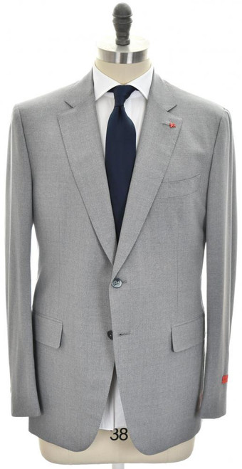 Isaia Suit 'Gregory' 2B Wool Aqua 3-Ply Size 44 Light Gray