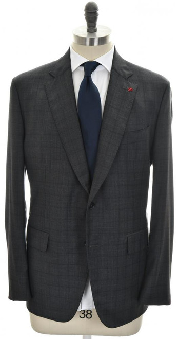 Isaia Suit 2B Wool Size 48 Gray Check