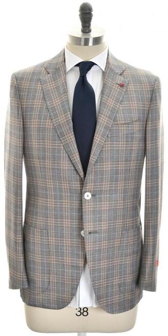 Isaia Suit 'Sanita' 2B Wool 130's Size 40 Gray Brown Plaid