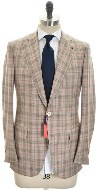 Isaia Suit 'Dustin' 2B Wool 140's Size 38 Brown Red Plaid