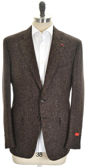 Isaia Sport Coat Jacket 'Gregory' 2B Wool Silk Size 44 Brown