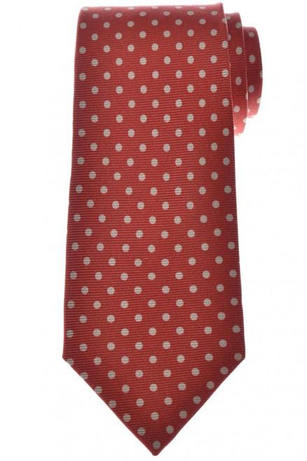 Isaia Napoli 7 Fold Tie Silk Dark Red Brown Polka Dot