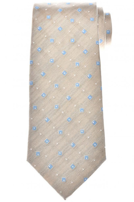 Isaia Napoli Tie Silk Brown Blue Geometric