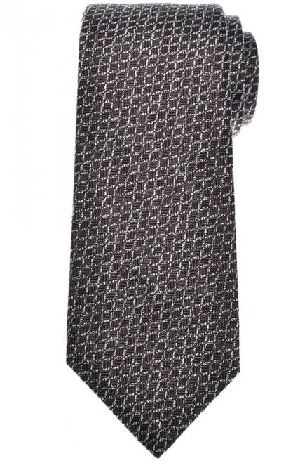 Isaia Napoli 7 Fold Tie Silk Brown Gray Geometric