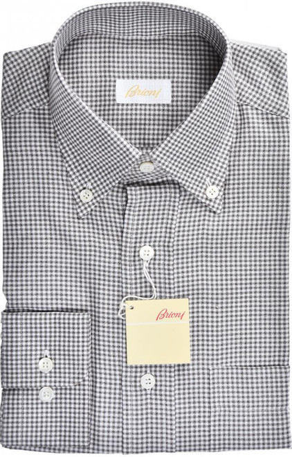 Brioni Dress Shirt Cotton Silk Small II Brown Check