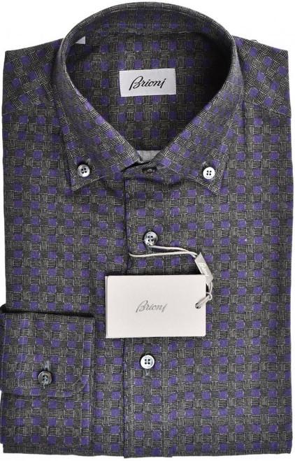 Brioni Dress Shirt Cotton Wool Small I Purple Brown Geometric