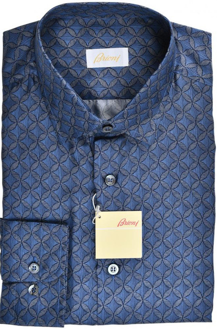 Brioni Dress Shirt Silk Medium III Blue Gray Geometric