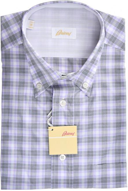Brioni Dress Shirt Short Sleeve Cotton Medium III Gray Check