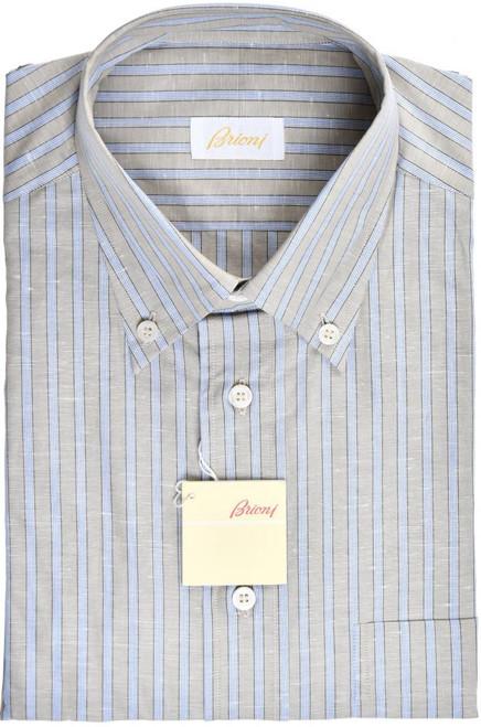 Brioni Dress Shirt Short Sleeve Cotton Linen Medium III Green