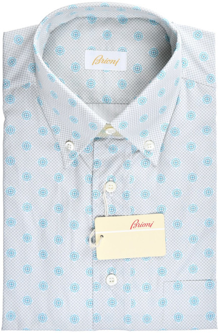 Brioni Dress Shirt Short Sleeve Cotton Medium III Gray Geometric