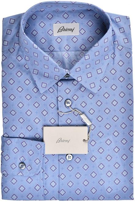 Brioni Dress Shirt Cotton Medium III Blue Purple Geometric