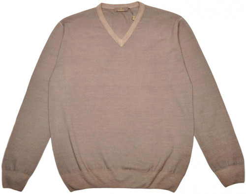 Cruciani Sweater V-Neck Wool 52 Large Brown 42SW0104