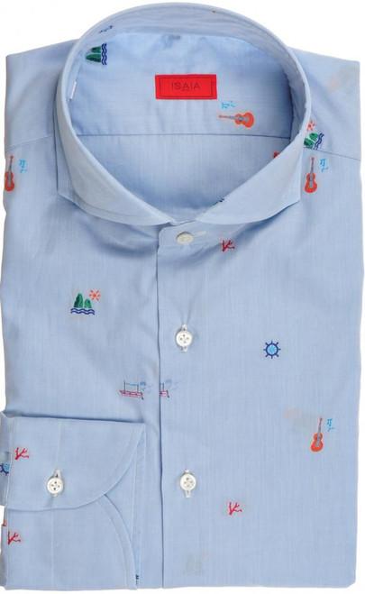 Isaia Napoli Dress Shirt Cotton 41 16 Blue Capri Style