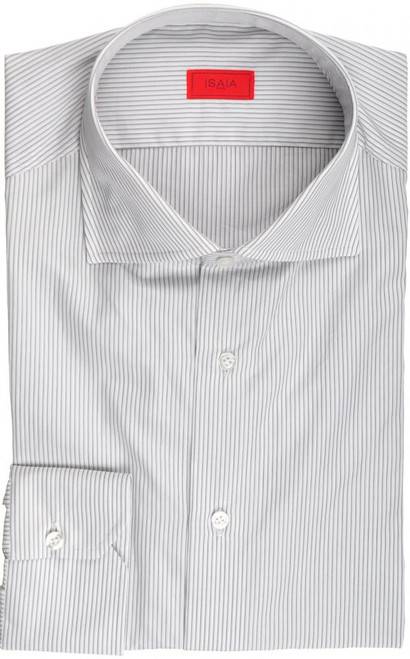 Isaia Napoli Dress Shirt Cotton 41 16 Gray Black Stripe