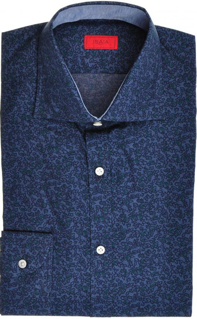 Isaia Napoli Dress Shirt Cotton 39 15 1/2 Blue Green Floral