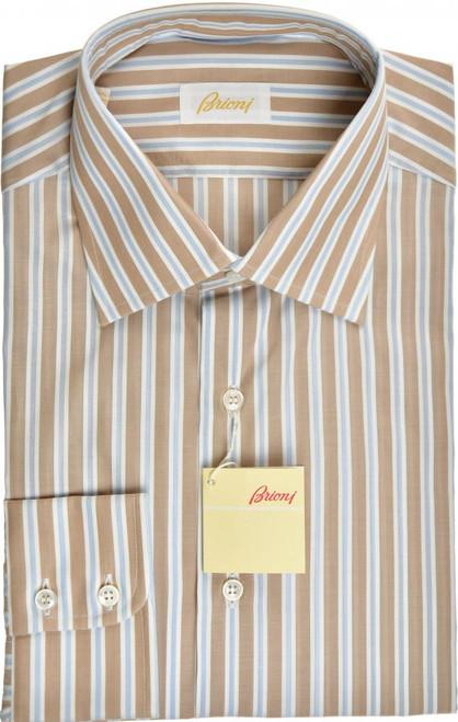 Brioni Dress Shirt Superfine Cotton 16 41 Brown Blue