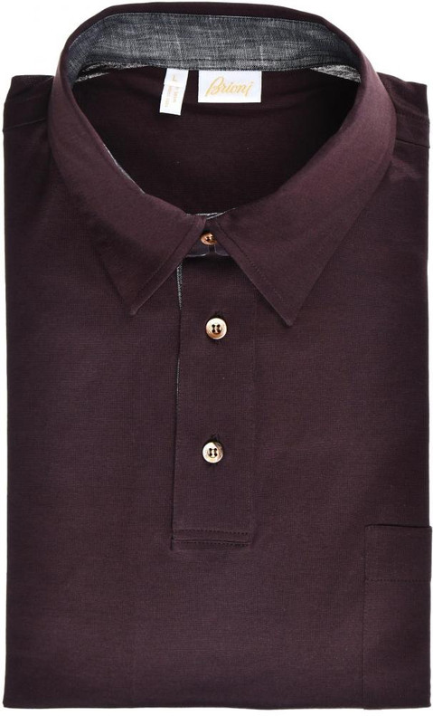 4bb383b6d63 Brioni Polo Shirt Fine Cotton Size Large Dark Brown