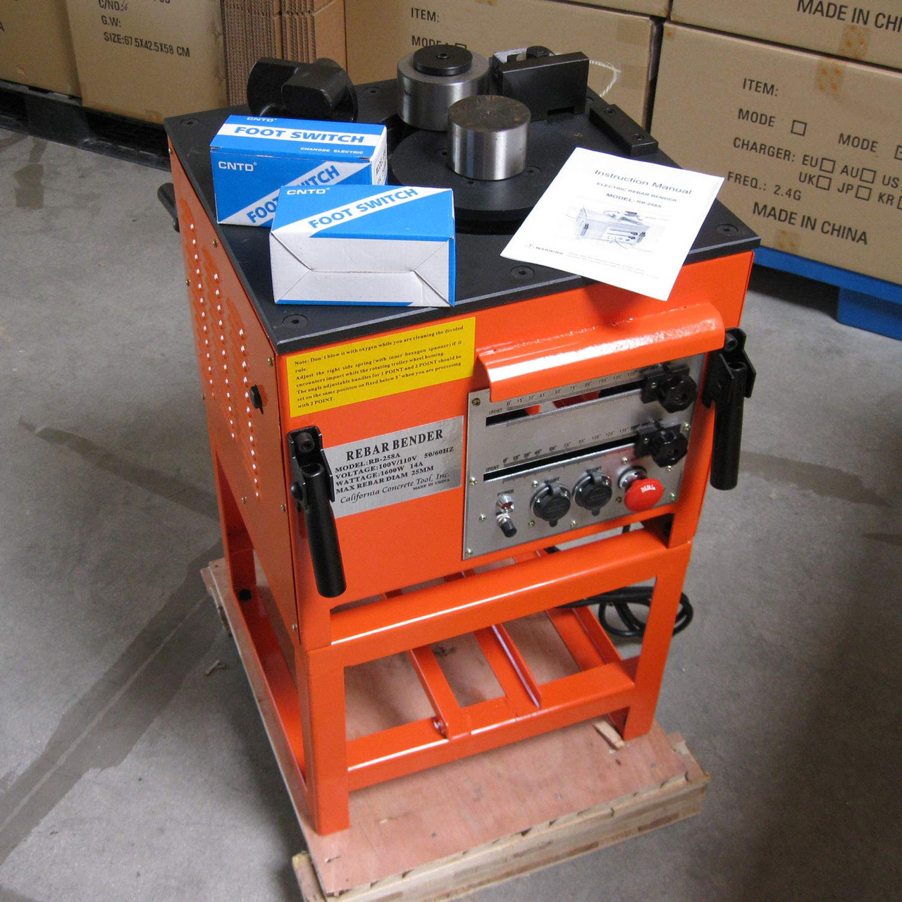 Electric Rebar Bender - Bend Up to #8(1 inch) Grade 60 Rebar and Round Bar  (Model: RB-258A)