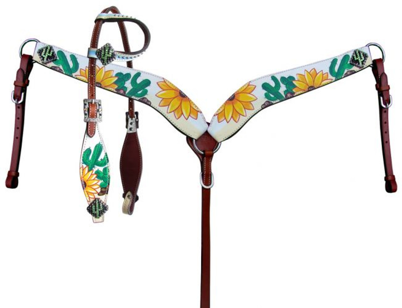 Showman Sunflower And Cactus Printed Overlay Tack Set 14251