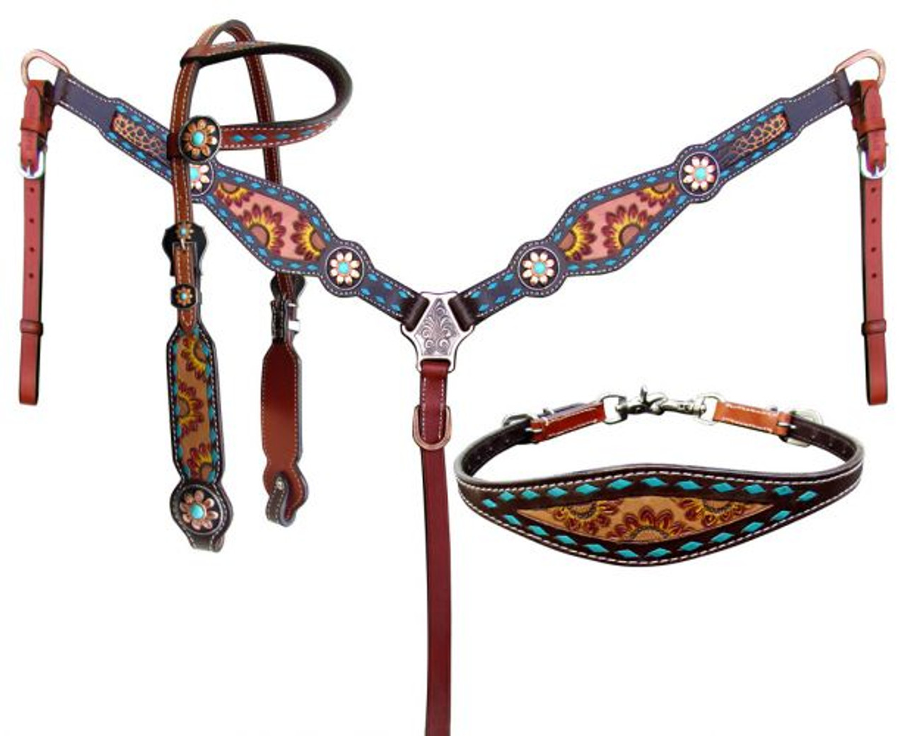 Showman Hand Painted Sunflower Western Tack Set With Brown And Alligator Inlay 14211