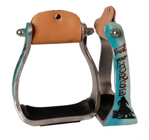 Aluminum Barrel Racing Show Holographic Turquoise Feather Saddle Stirrups 3 Neck