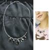 Gothic Black Jewel Pendants Double Strings Necklace