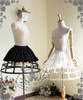Gothic Steampunk Knee Length Full Birdcage Steel Petticoat Crinoline Midi Cage Skirt Hoop Black White Pannier Skirt*2colors Instant Shipping