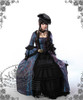 Model Show (dark blue jacquard polyester) SOLD OUT (hat P00574, gloves P00581, fan P00580, choker AD00581)