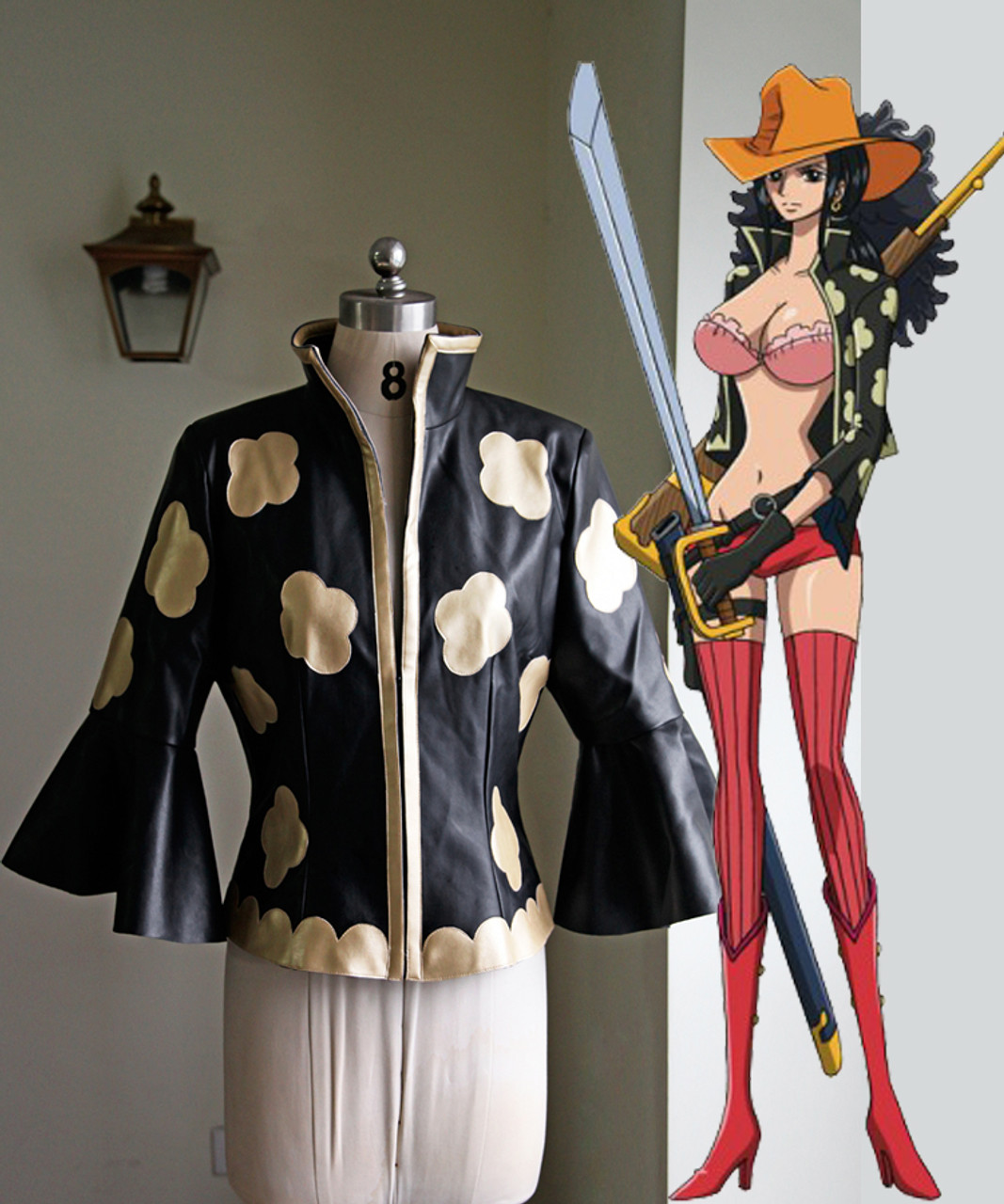 One Piece Film Z Cosplay Nico Robin Costume Jacket Leg Pouch