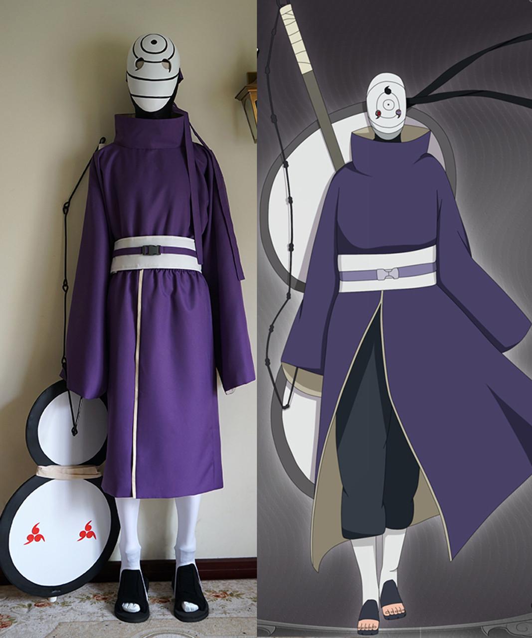 Naruto Cosplay Akatsuki Ninja Tobi Obito Madara Uchiha Costume Full Set