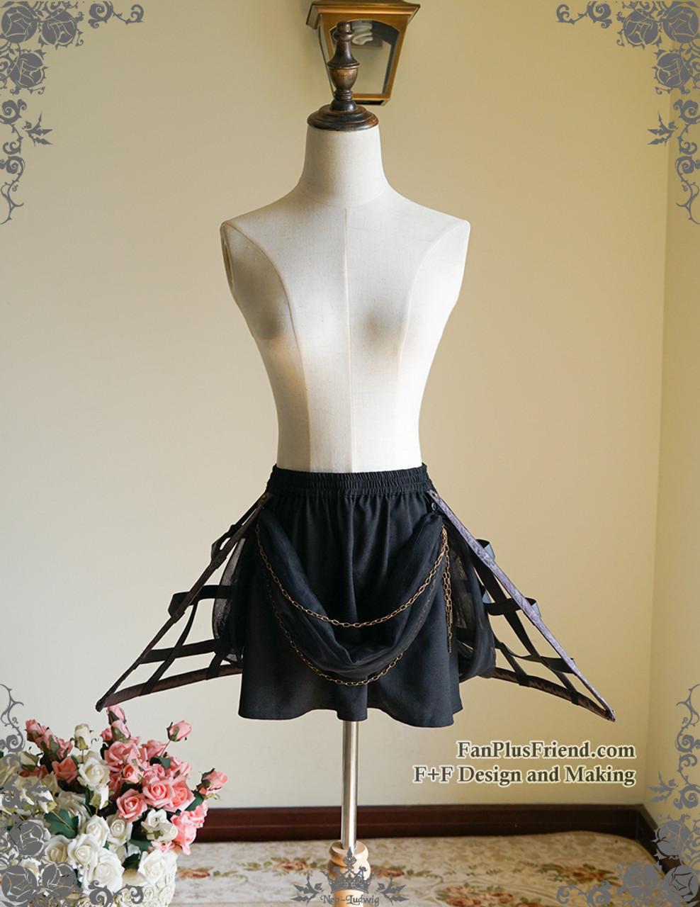 73595a581 Steampunk Crinoline Petticoat Short Cage Skirt Hoop Skirt Black White