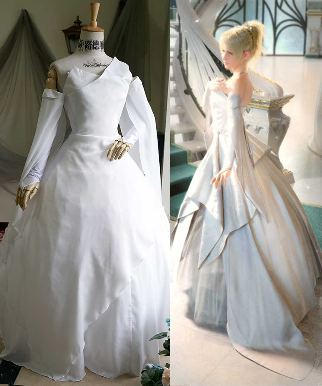 Final Fantasy XV (FF15 Game) Cosplay, Luna (Lunafreya Nox Fleuret) White  Wedding Maxi Dress Costume Set