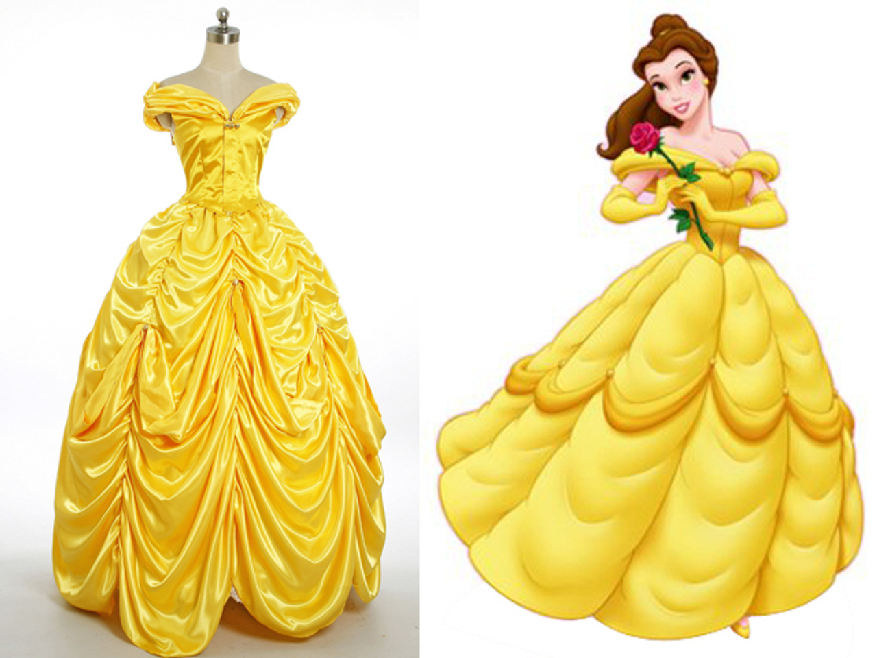 Disney Beauty And The Beast Cosplay Belle Costume Yellow Ball Gown