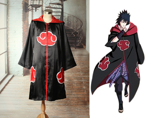 Naruto Cosplay Akatsuki Costume Hooded Cloak