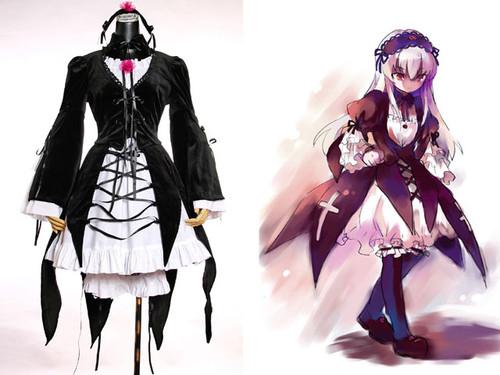 Rozen Maiden Cosplay, Suigintou Costume*6pcs Outfit