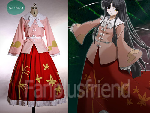 Touhou Project, Imperishable Night Cosplay, Kaguya Houraisan Kimono Costume Set*4pcs